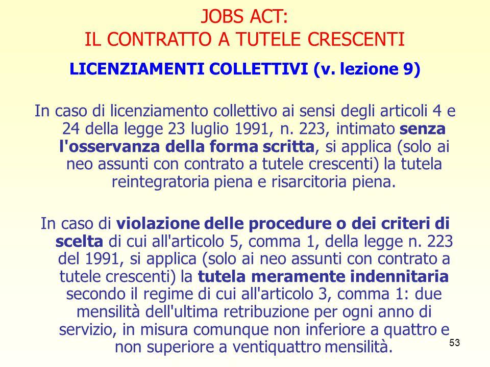 LICENZIAMENTI COLLETTIVI (v. lezione 9)