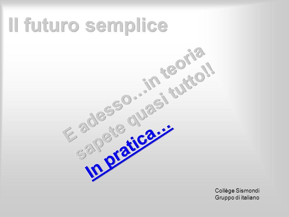 Il futuro semplice E adesso…in teoria sapete quasi tutto!! In pratica…