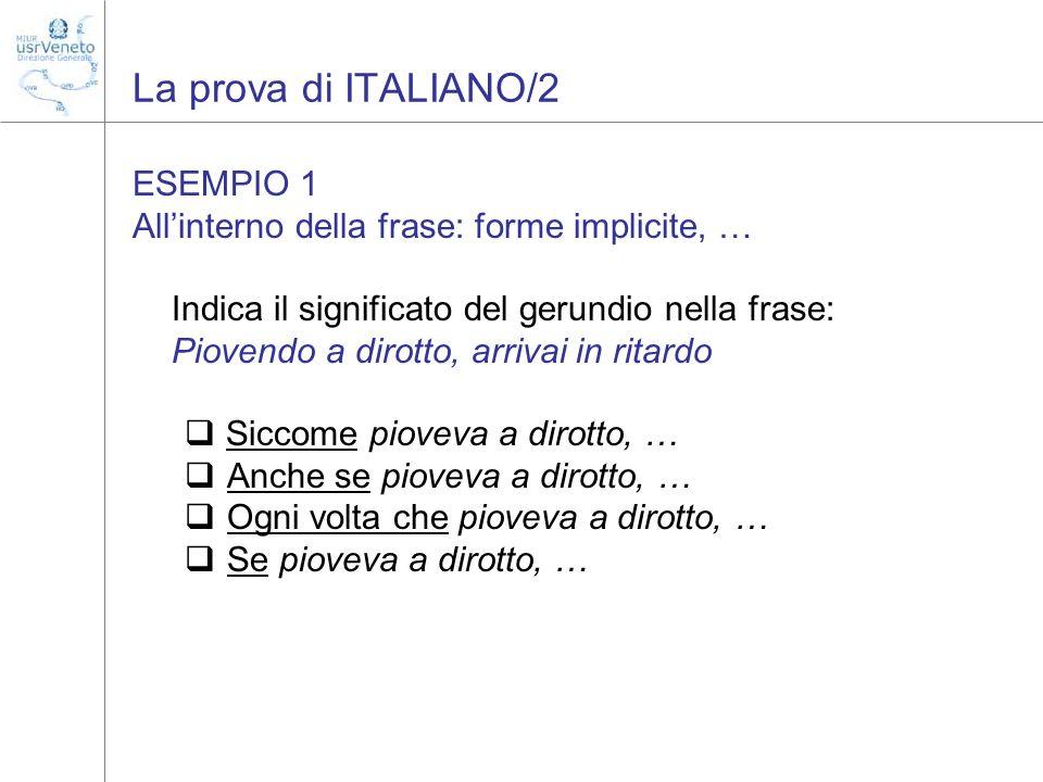 La prova di ITALIANO/2 ESEMPIO 1