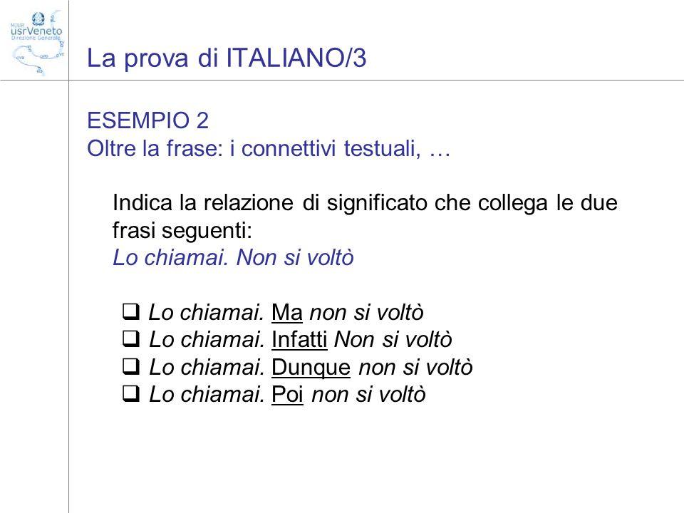 La prova di ITALIANO/3 ESEMPIO 2
