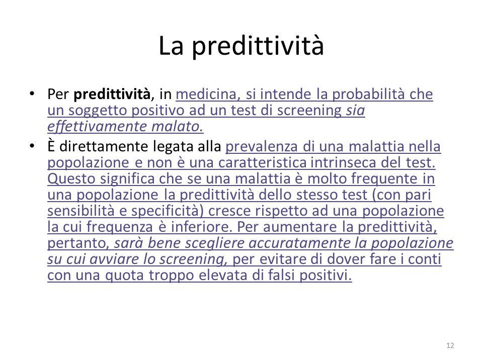 La predittività Per predittività, in medicina, si intende la probabilità che un soggetto positivo ad un test di screening sia effettivamente malato.