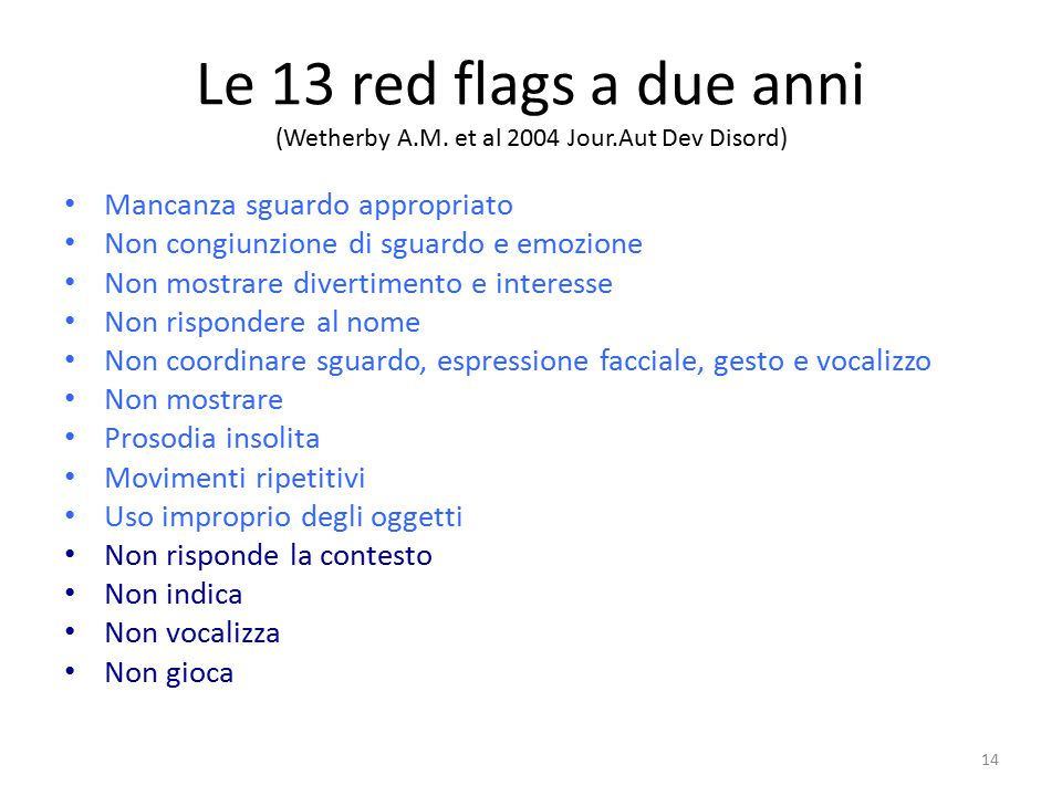 Le 13 red flags a due anni (Wetherby A. M. et al 2004 Jour