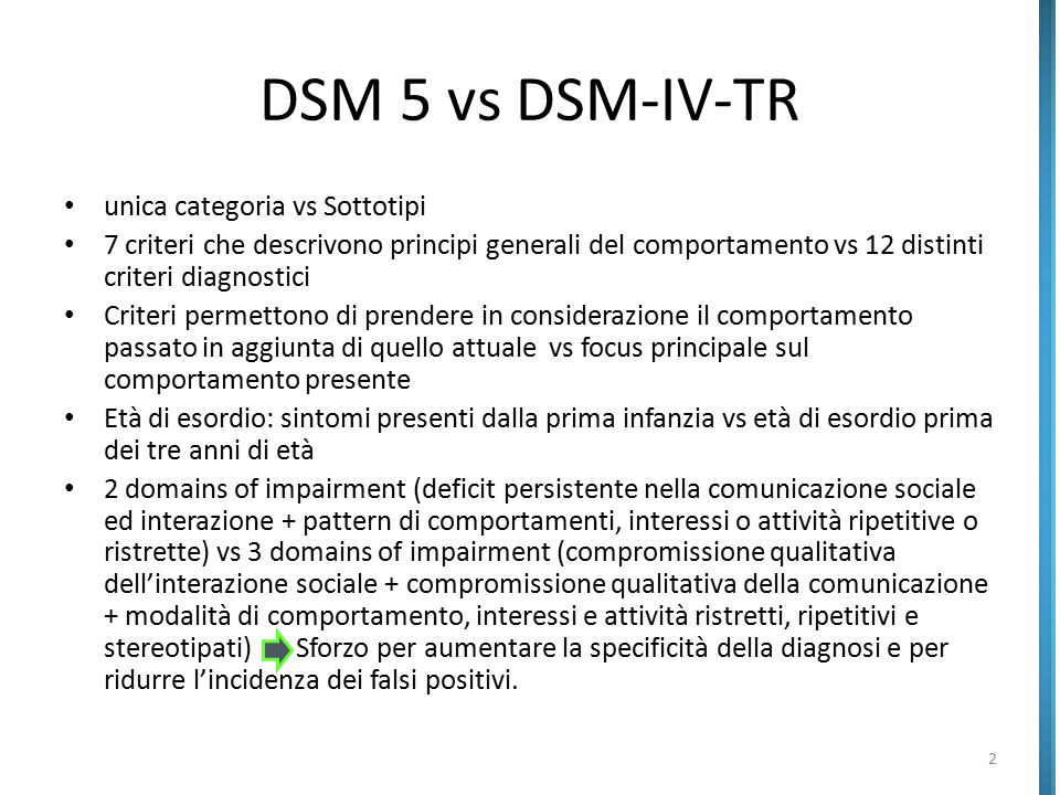 DSM 5 vs DSM-IV-TR unica categoria vs Sottotipi