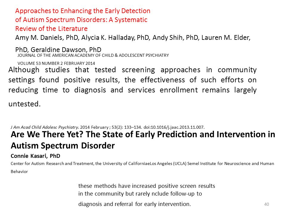 Approaches to Enhancing the Early Detection
