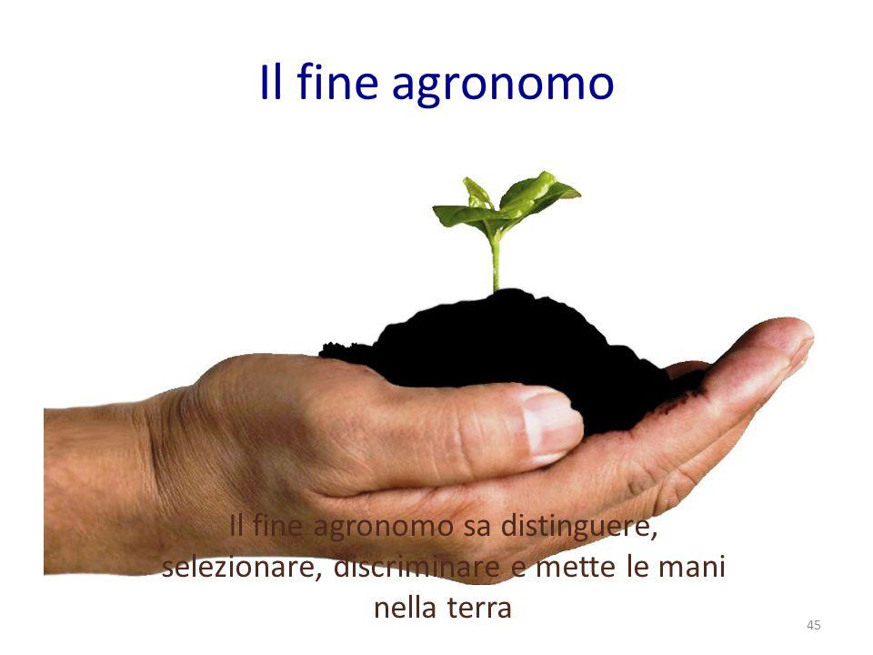 Il fine agronomo Il fine agronomo sa distinguere, selezionare, discriminare e mette le mani nella terra.