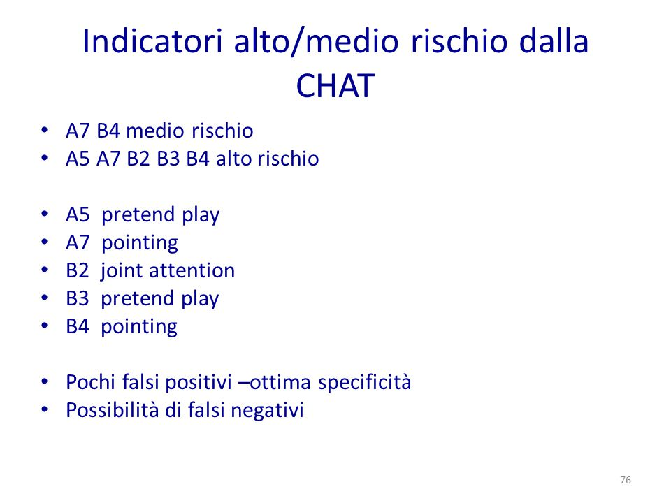 Indicatori alto/medio rischio dalla CHAT