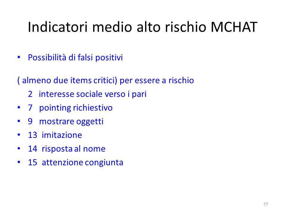 Indicatori medio alto rischio MCHAT