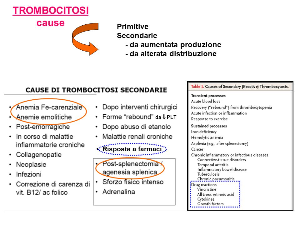 TROMBOCITOSI cause Primitive Secondarie - da aumentata produzione
