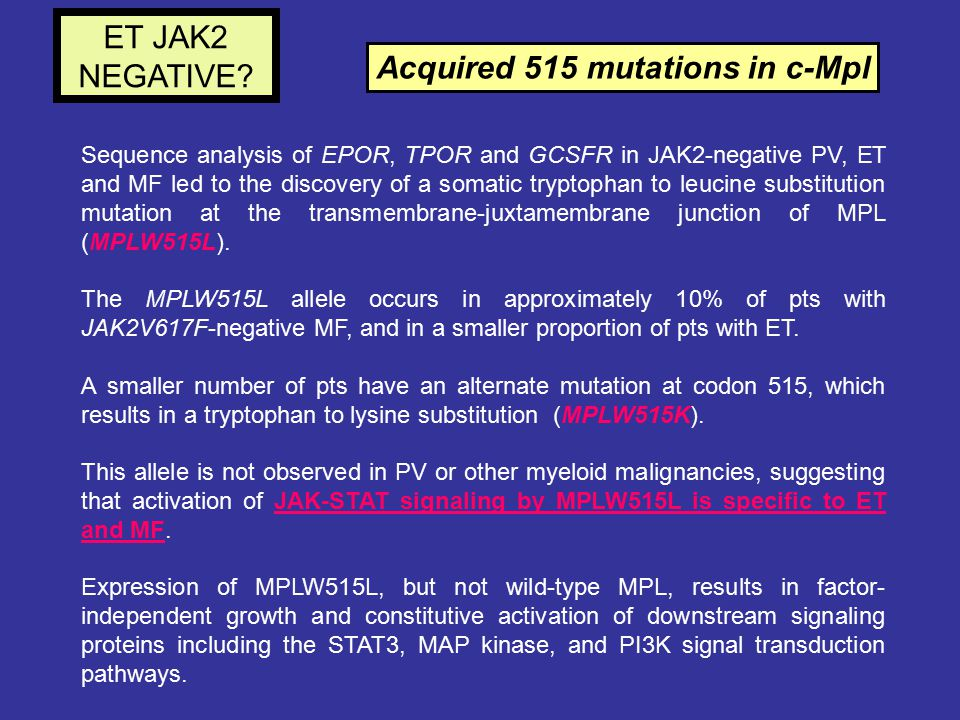 Acquired 515 mutations in c-Mpl