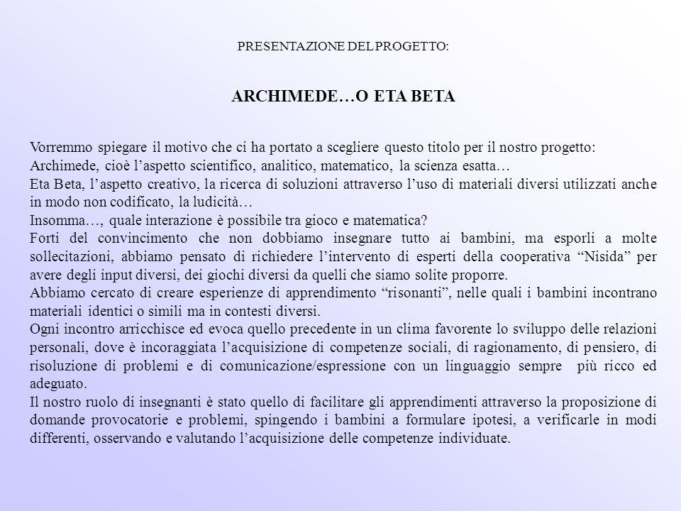 PRESENTAZIONE DEL PROGETTO: