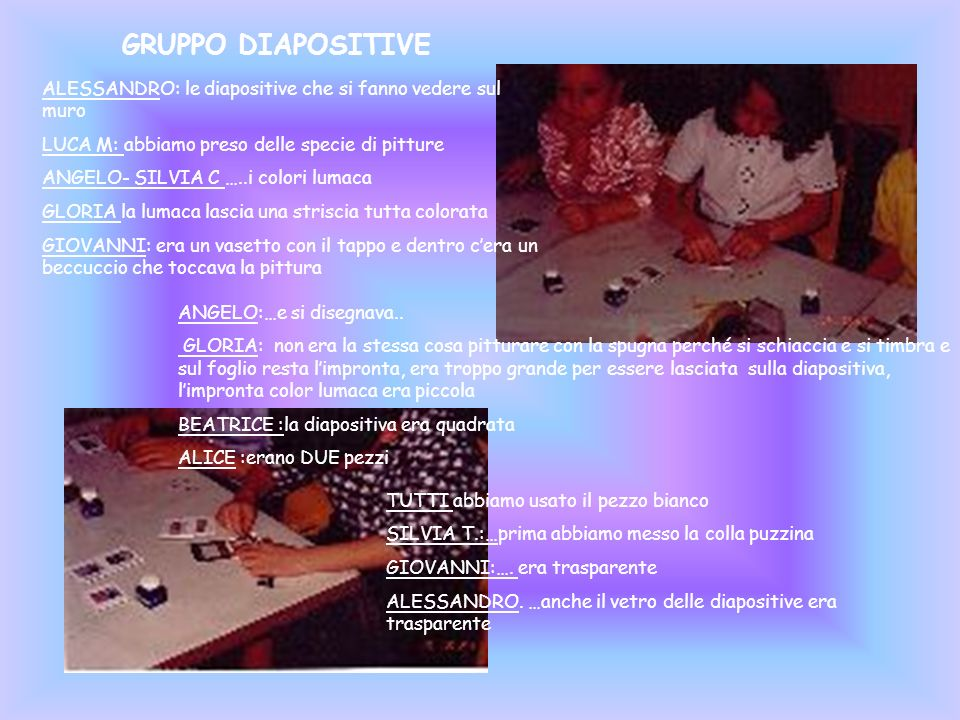 GRUPPO DIAPOSITIVE ALESSANDRO: le diapositive che si fanno vedere sul muro. LUCA M: abbiamo preso delle specie di pitture.