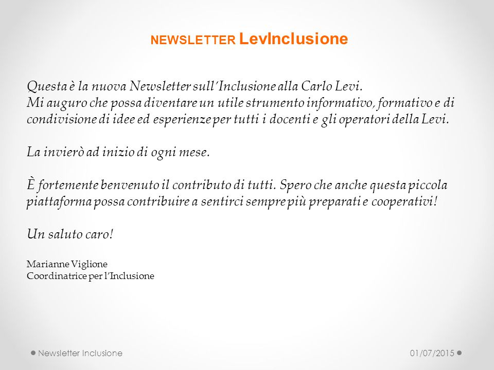 NEWSLETTER LevInclusione