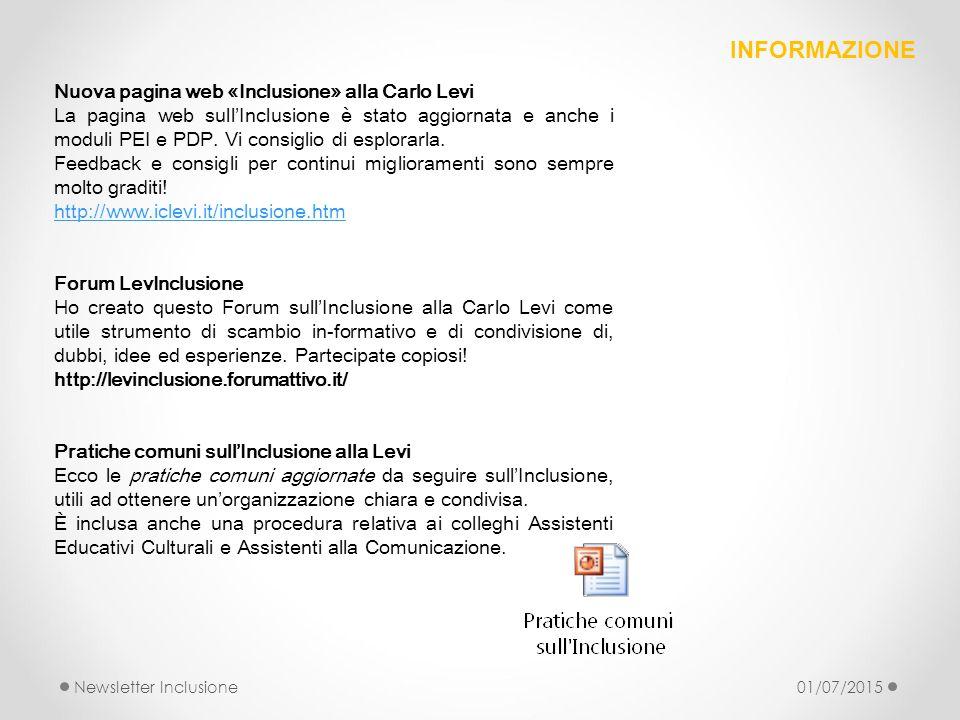 INFORMAZIONE Nuova pagina web «Inclusione» alla Carlo Levi