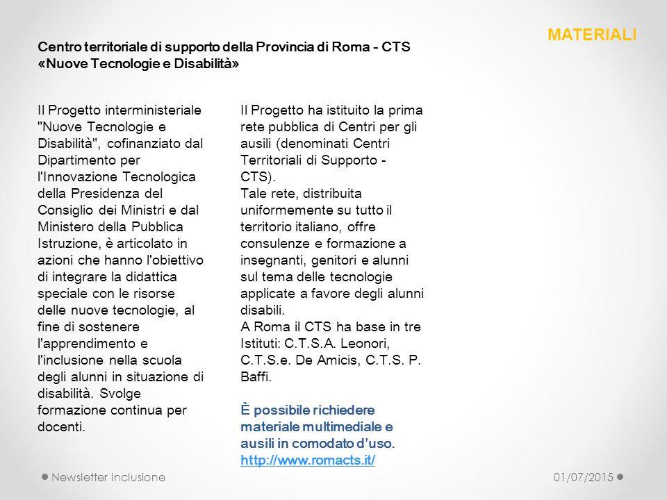 MATERIALI Centro territoriale di supporto della Provincia di Roma - CTS. «Nuove Tecnologie e Disabilità»