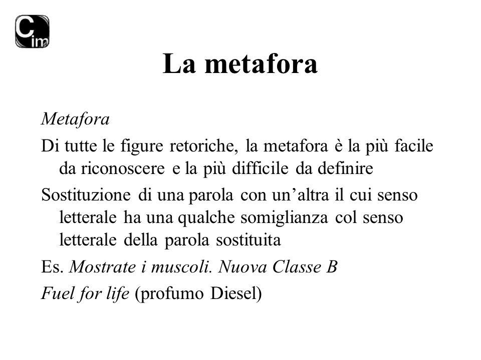 La metafora Metafora. Di tutte le figure retoriche, la metafora è la più facile da riconoscere e la più difficile da definire.