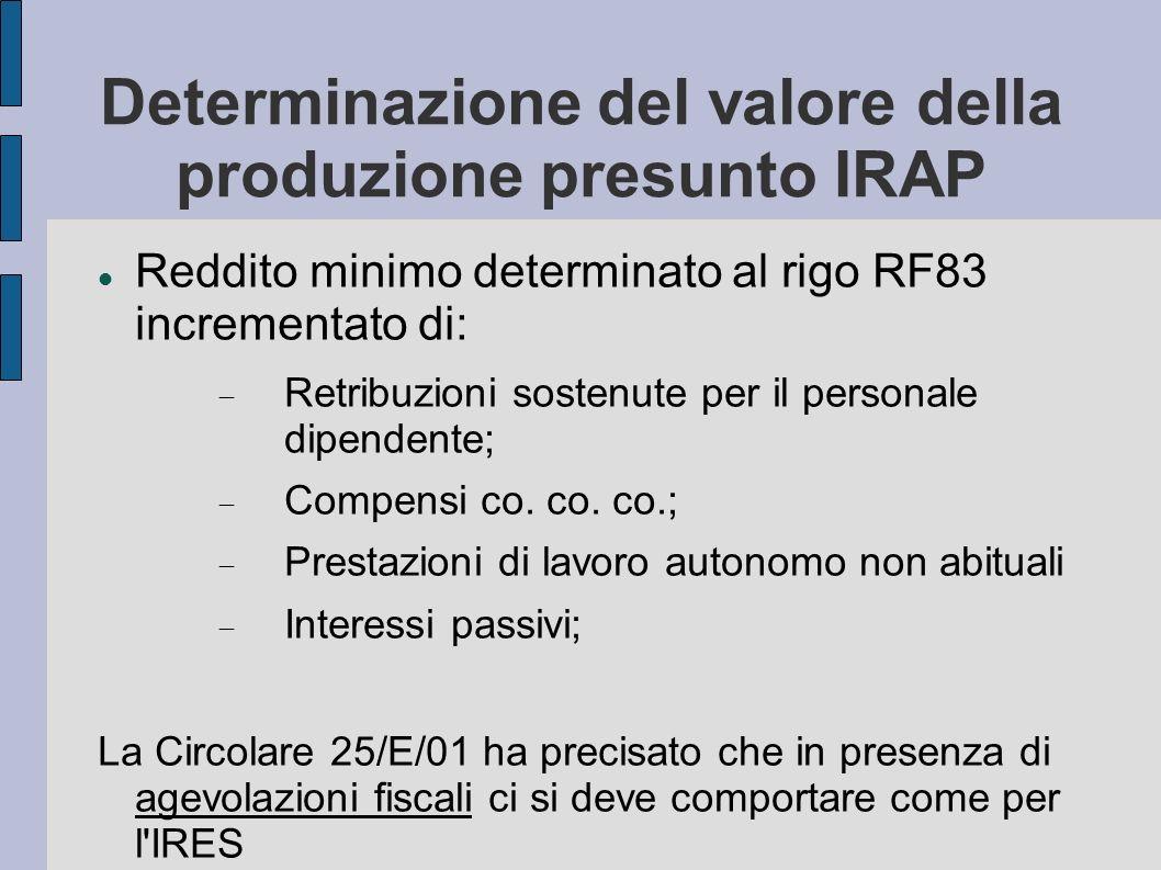 Determinazione del valore della produzione presunto IRAP