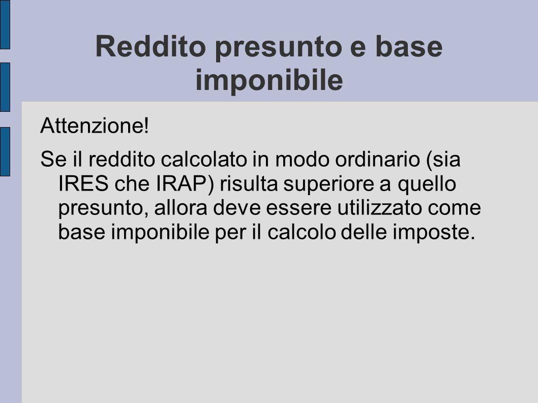 Reddito presunto e base imponibile
