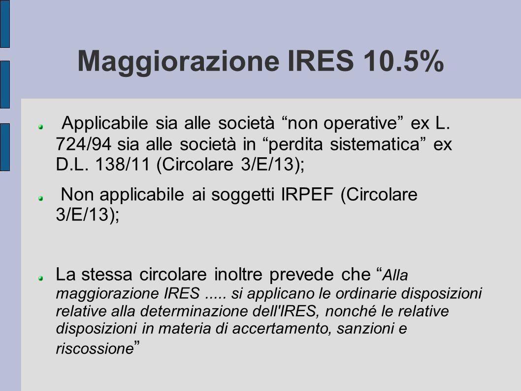 Maggiorazione IRES 10.5%