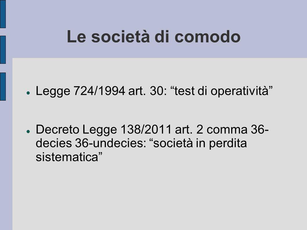 Le società di comodo Legge 724/1994 art. 30: test di operatività