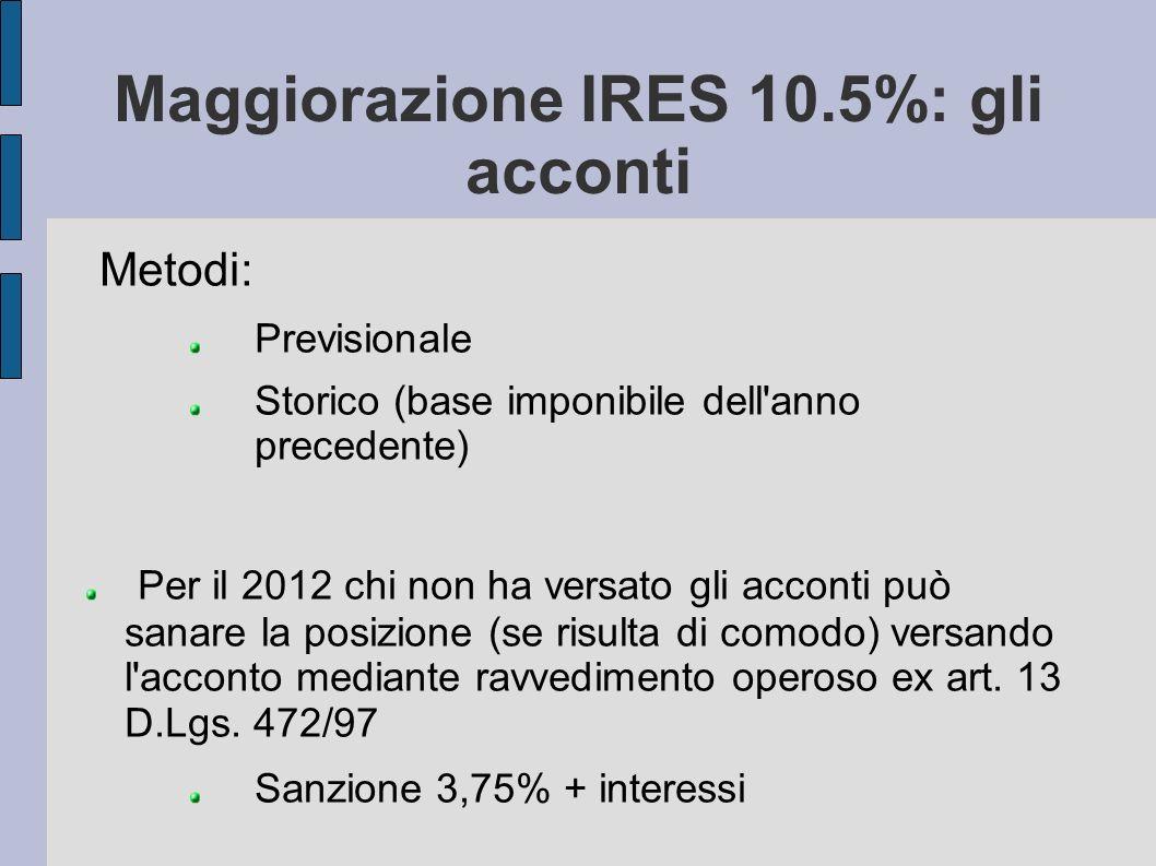Maggiorazione IRES 10.5%: gli acconti