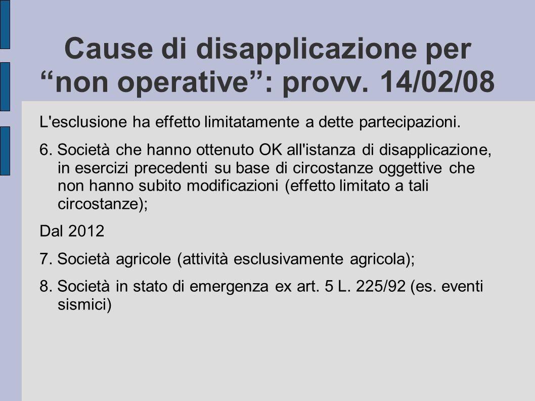 Cause di disapplicazione per non operative : provv. 14/02/08