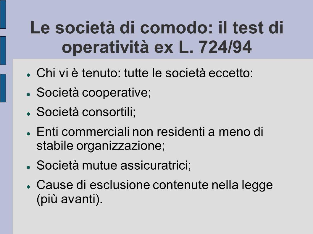 Le società di comodo: il test di operatività ex L. 724/94