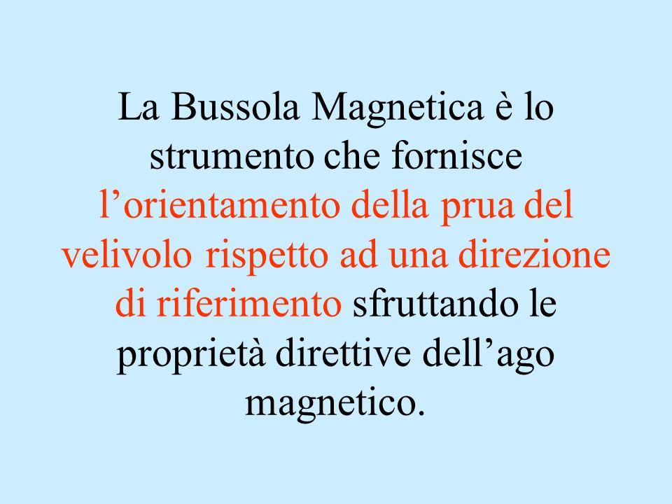 La Bussola Magnetica è lo strumento che fornisce l'orientamento della prua del velivolo rispetto ad una direzione di riferimento sfruttando le proprietà direttive dell'ago magnetico.