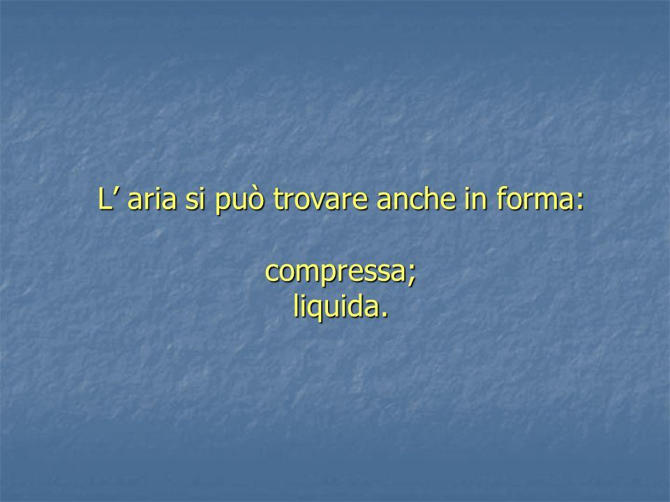 L' aria si può trovare anche in forma: compressa; liquida.