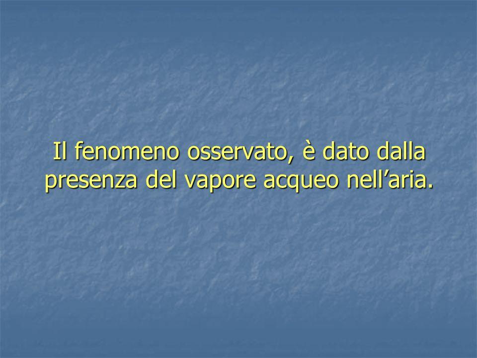 Il fenomeno osservato, è dato dalla presenza del vapore acqueo nell'aria.