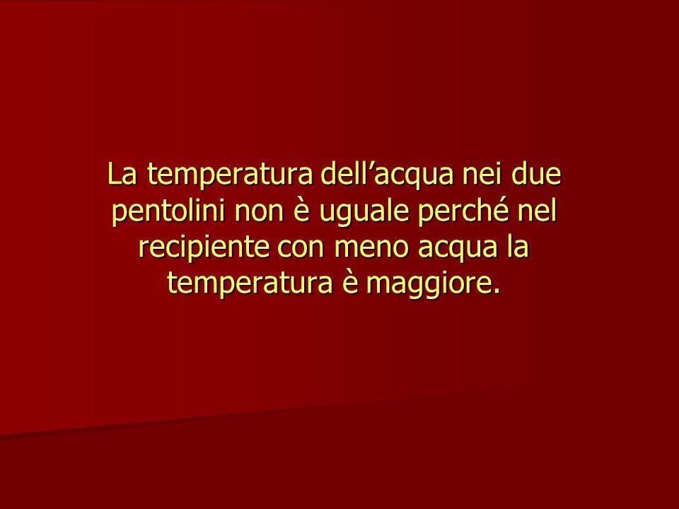La temperatura dell'acqua nei due pentolini non è uguale perché nel recipiente con meno acqua la temperatura è maggiore.