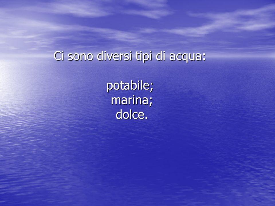Ci sono diversi tipi di acqua: potabile; marina; dolce.