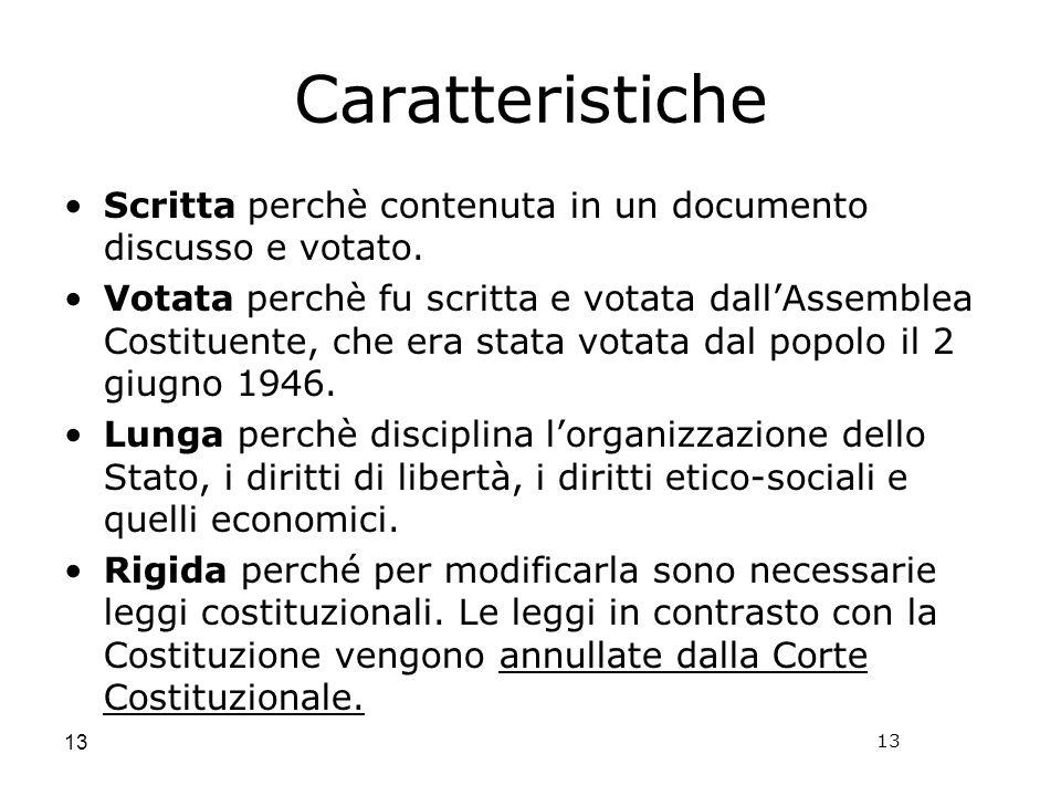Caratteristiche Scritta perchè contenuta in un documento discusso e votato.