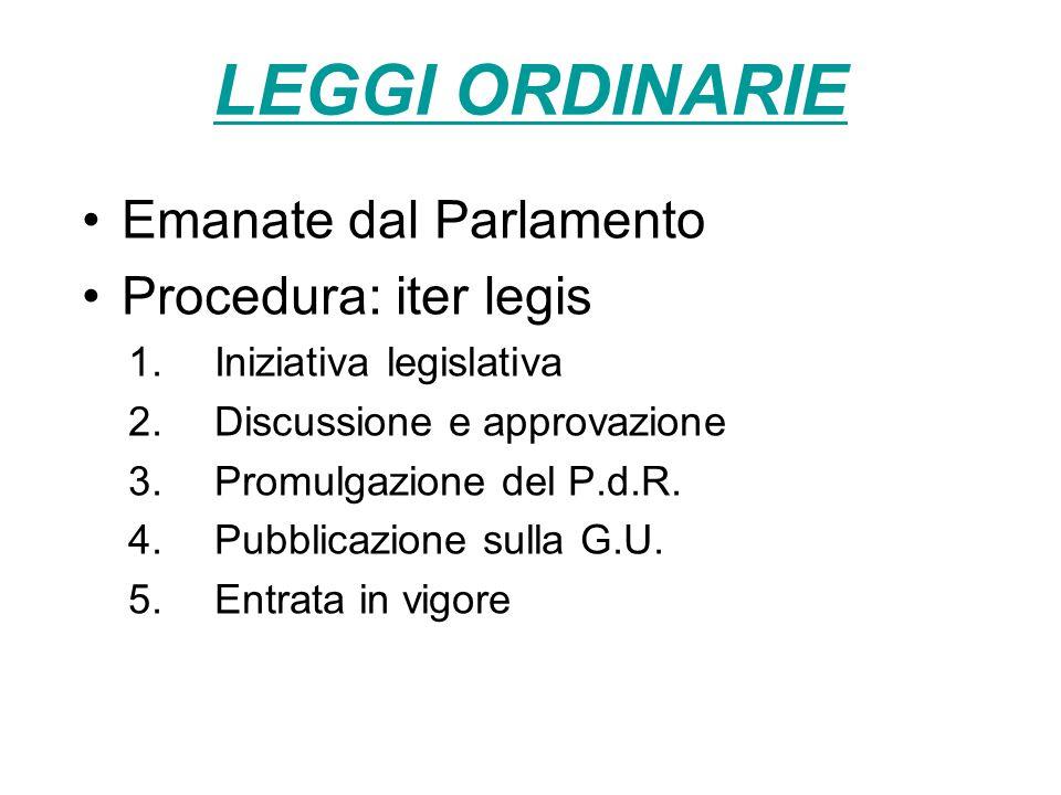 LEGGI ORDINARIE Emanate dal Parlamento Procedura: iter legis