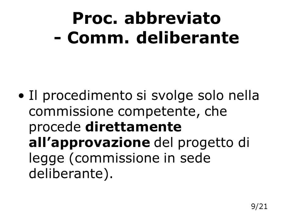 Proc. abbreviato - Comm. deliberante
