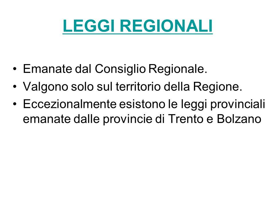 LEGGI REGIONALI Emanate dal Consiglio Regionale.
