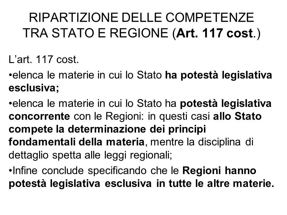 RIPARTIZIONE DELLE COMPETENZE TRA STATO E REGIONE (Art. 117 cost.)