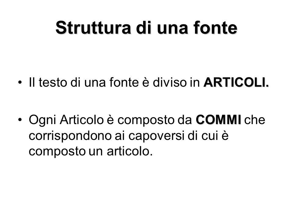 Struttura di una fonte Il testo di una fonte è diviso in ARTICOLI.