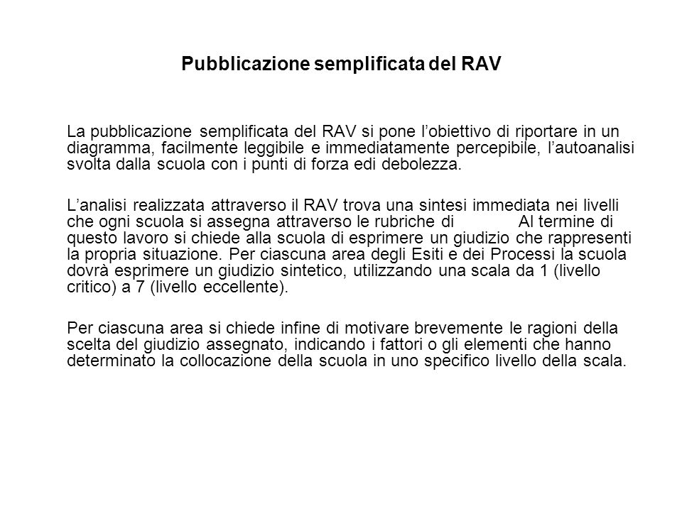 Pubblicazione semplificata del RAV