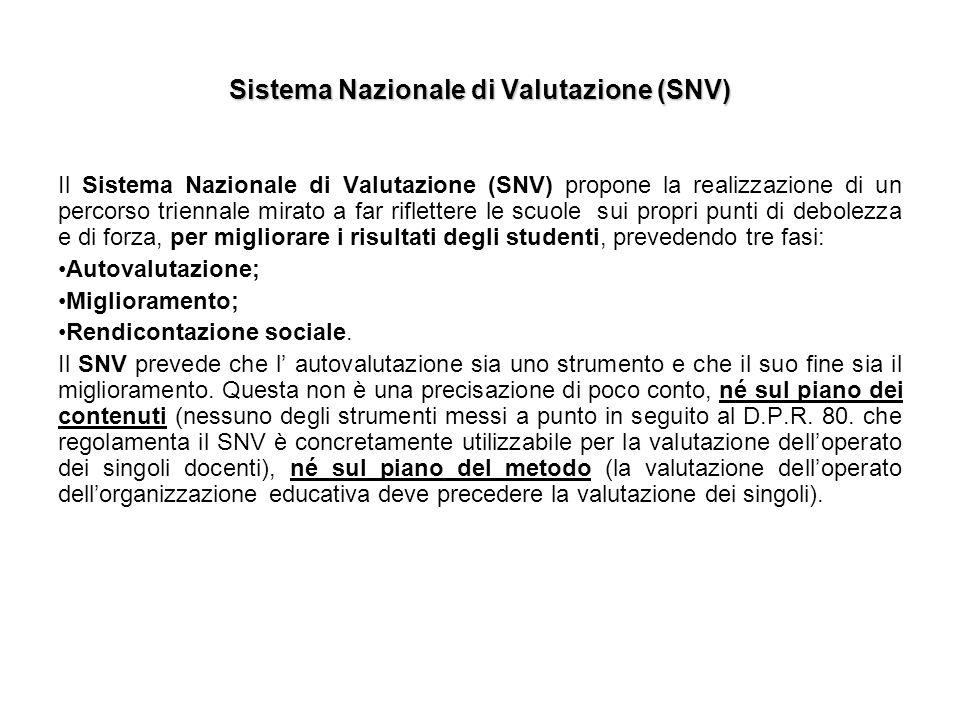 Sistema Nazionale di Valutazione (SNV)