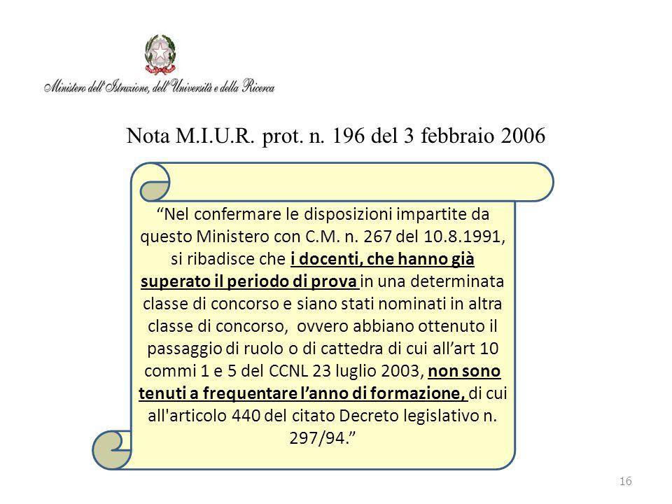 Nota M.I.U.R. prot. n. 196 del 3 febbraio 2006
