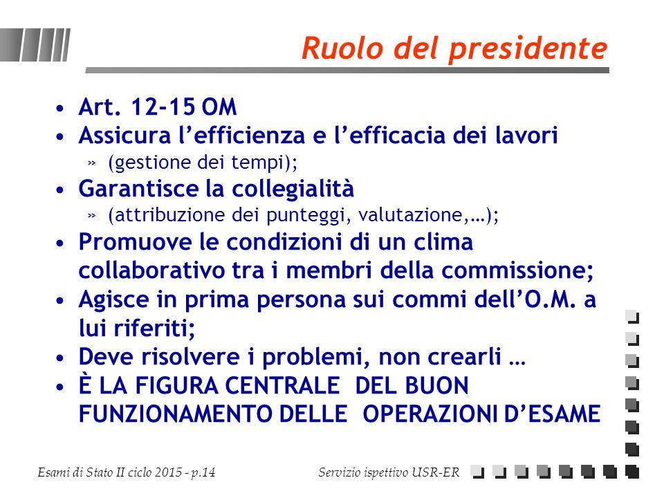 Ruolo del presidente Art. 12-15 OM