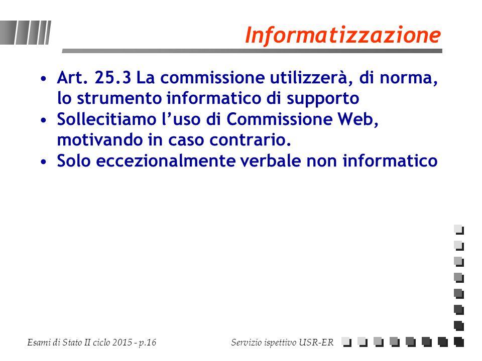 Informatizzazione Art. 25.3 La commissione utilizzerà, di norma, lo strumento informatico di supporto.