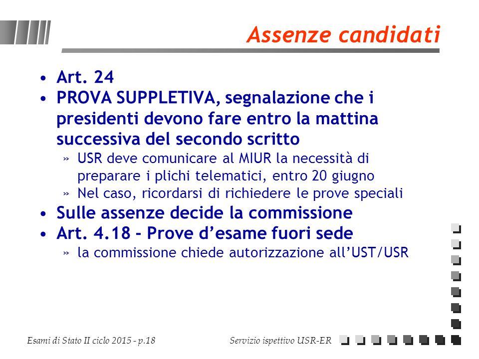 Assenze candidati Art. 24. PROVA SUPPLETIVA, segnalazione che i presidenti devono fare entro la mattina successiva del secondo scritto.