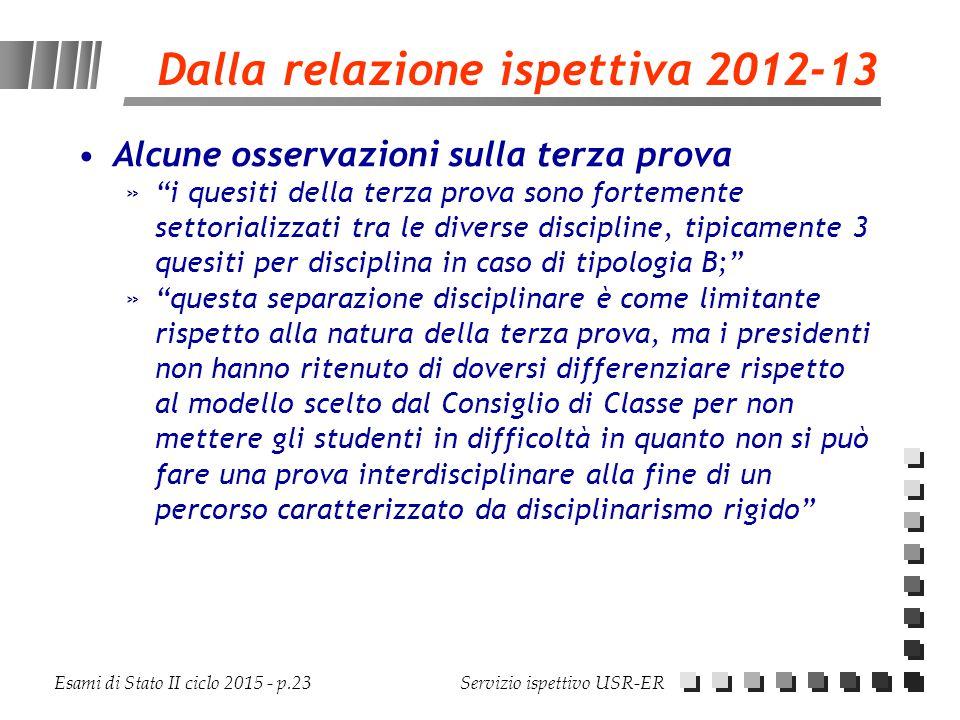 Dalla relazione ispettiva 2012-13