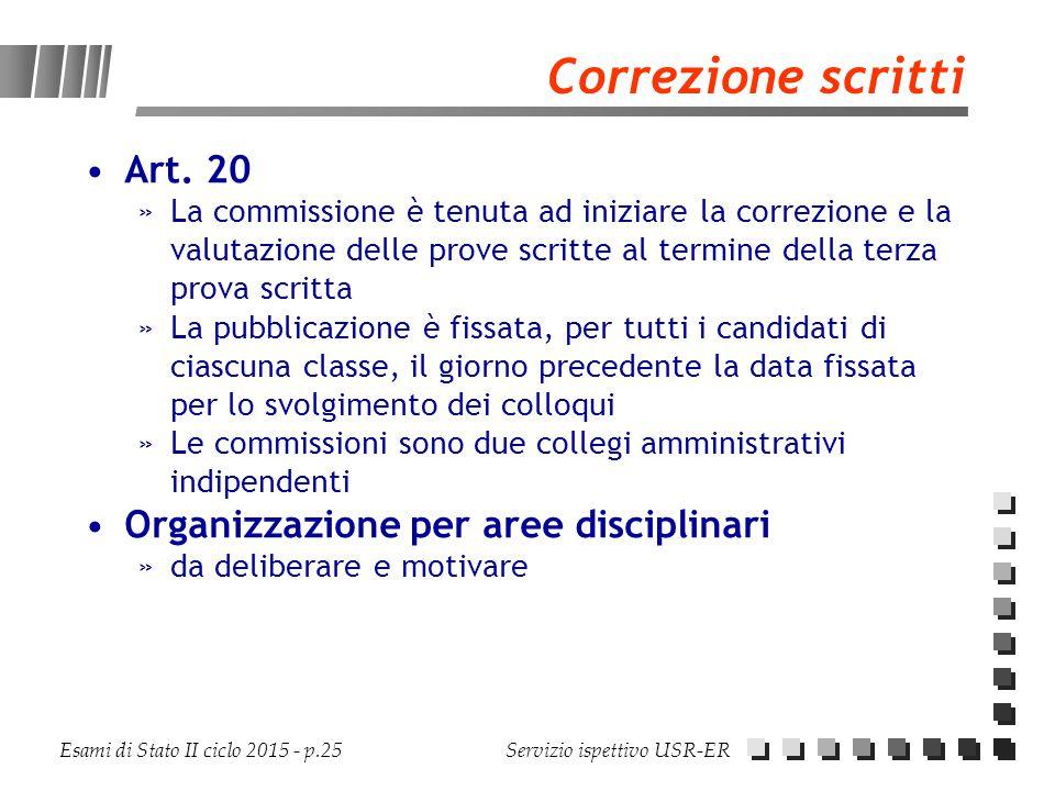 Correzione scritti Art. 20 Organizzazione per aree disciplinari