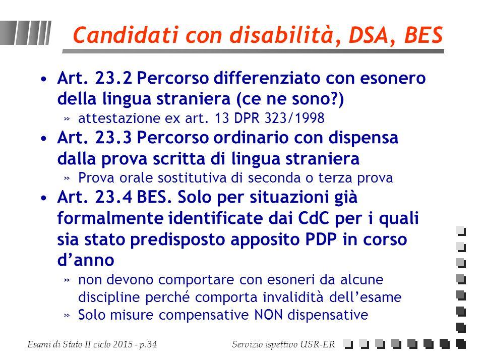 Candidati con disabilità, DSA, BES
