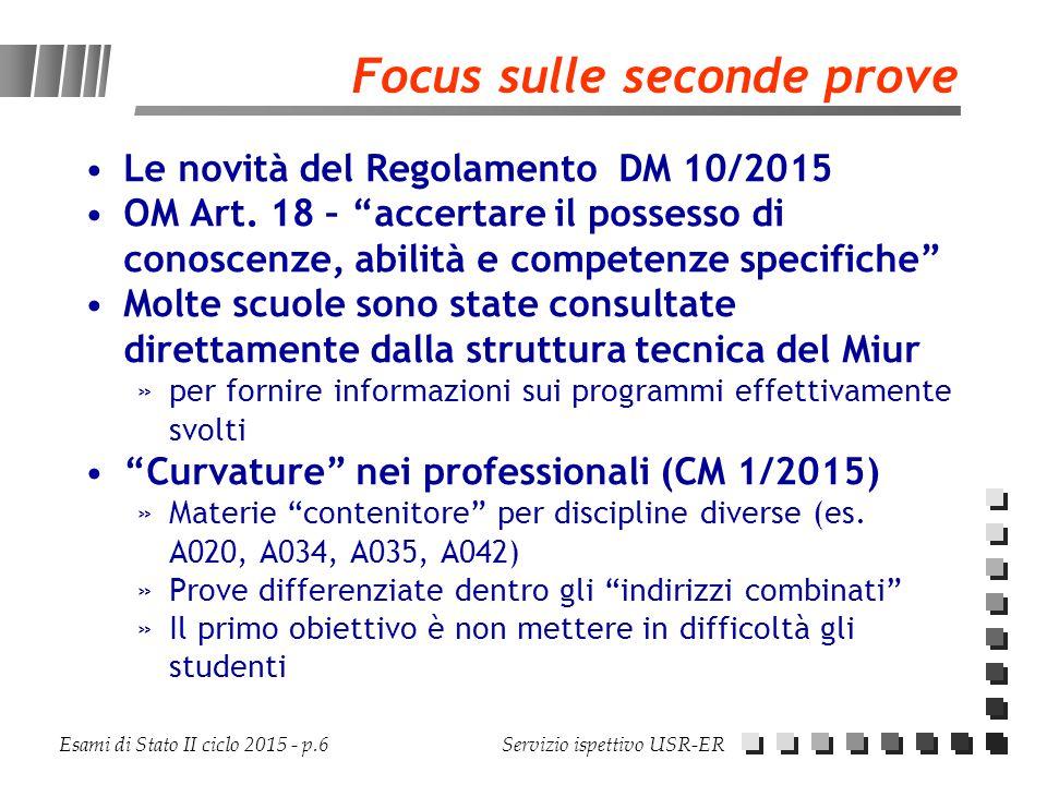 Focus sulle seconde prove