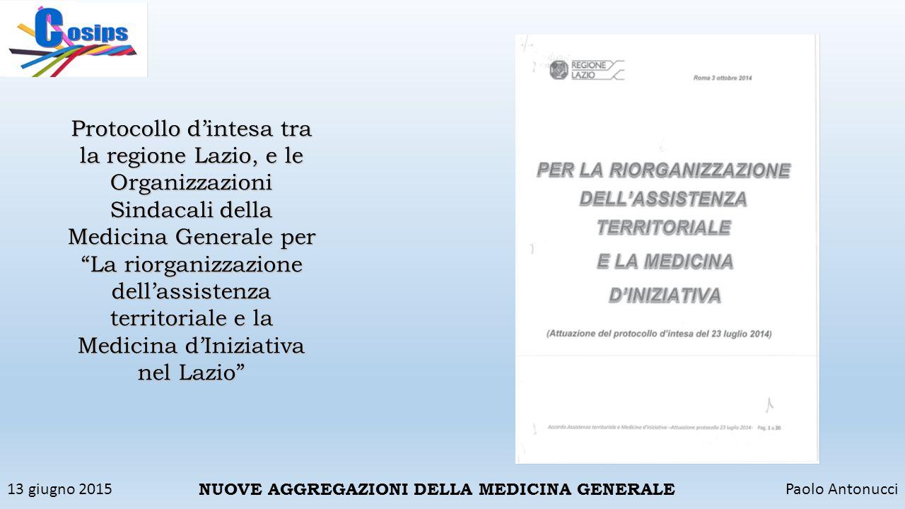 Protocollo d'intesa tra la regione Lazio, e le Organizzazioni Sindacali della Medicina Generale per
