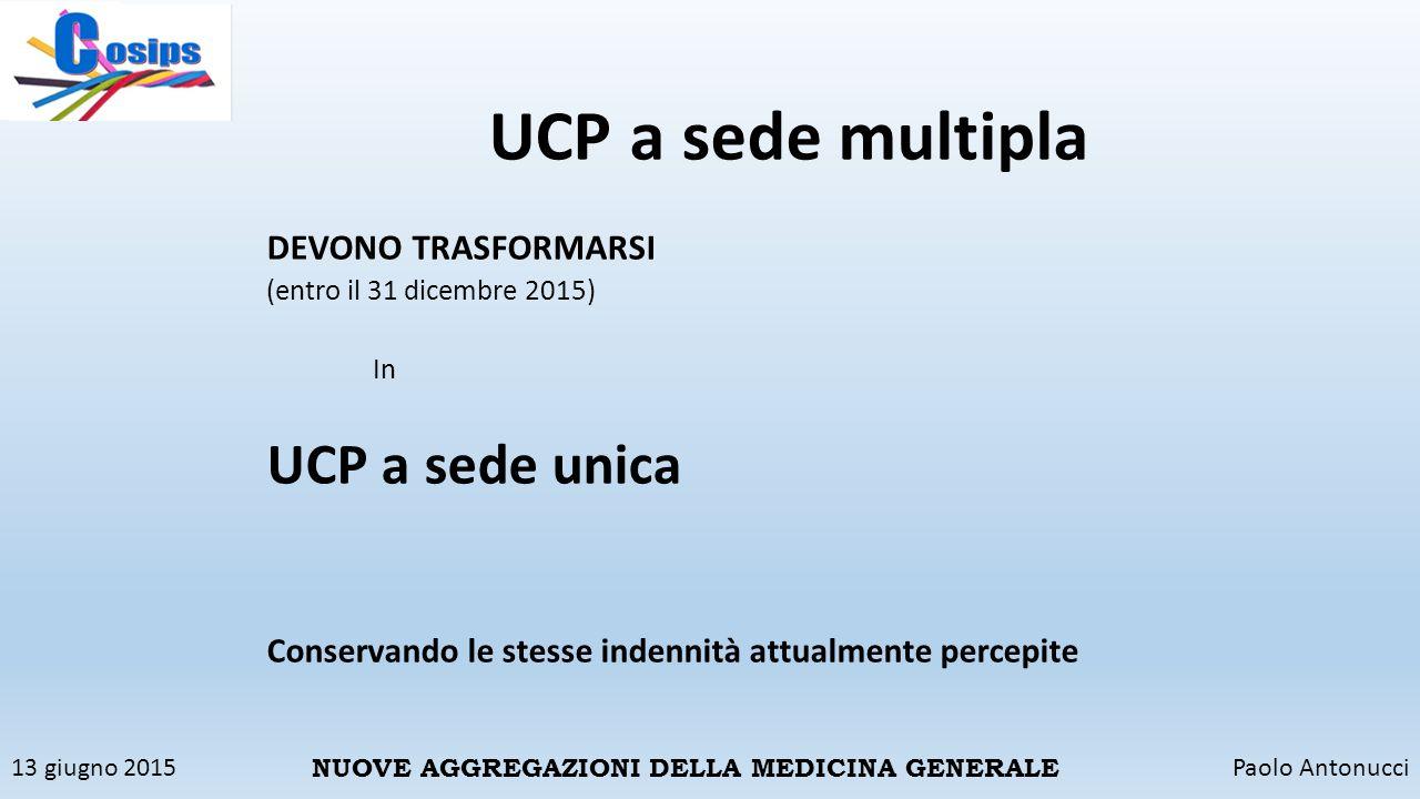 UCP a sede multipla UCP a sede unica DEVONO TRASFORMARSI