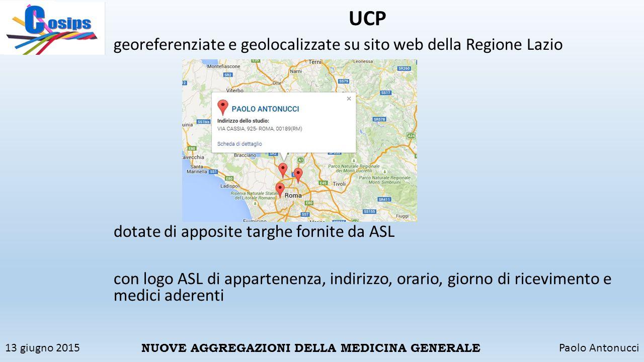 UCP georeferenziate e geolocalizzate su sito web della Regione Lazio